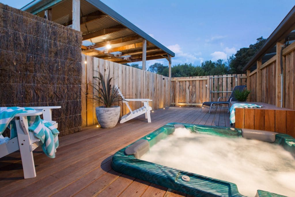 Spend Valentines on the Mornington Peninsula and try the outdoor spa at Whitewood Cottage holiday accommodation at Rye